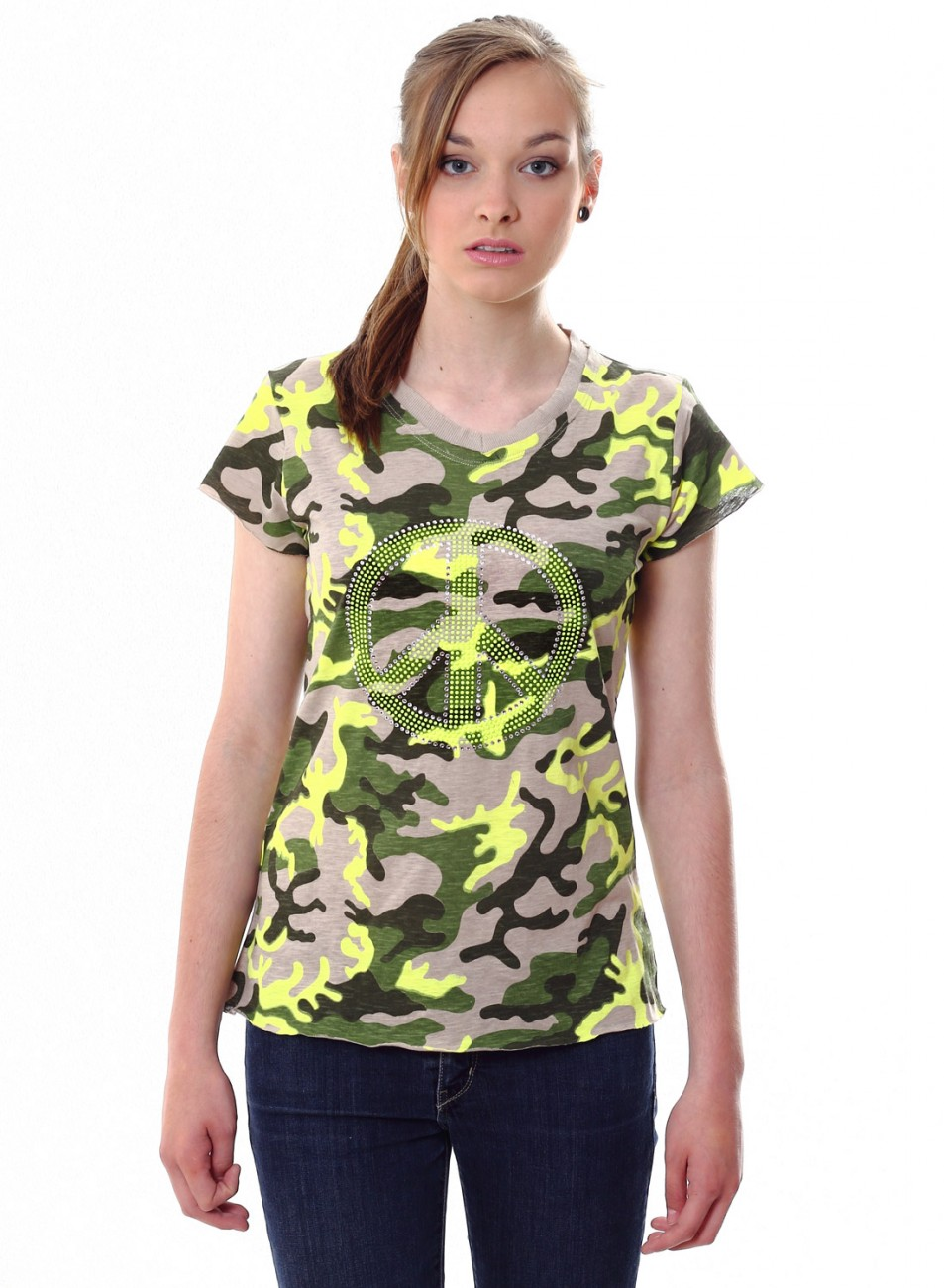 caspar damen shirt camouflage peace neon strass