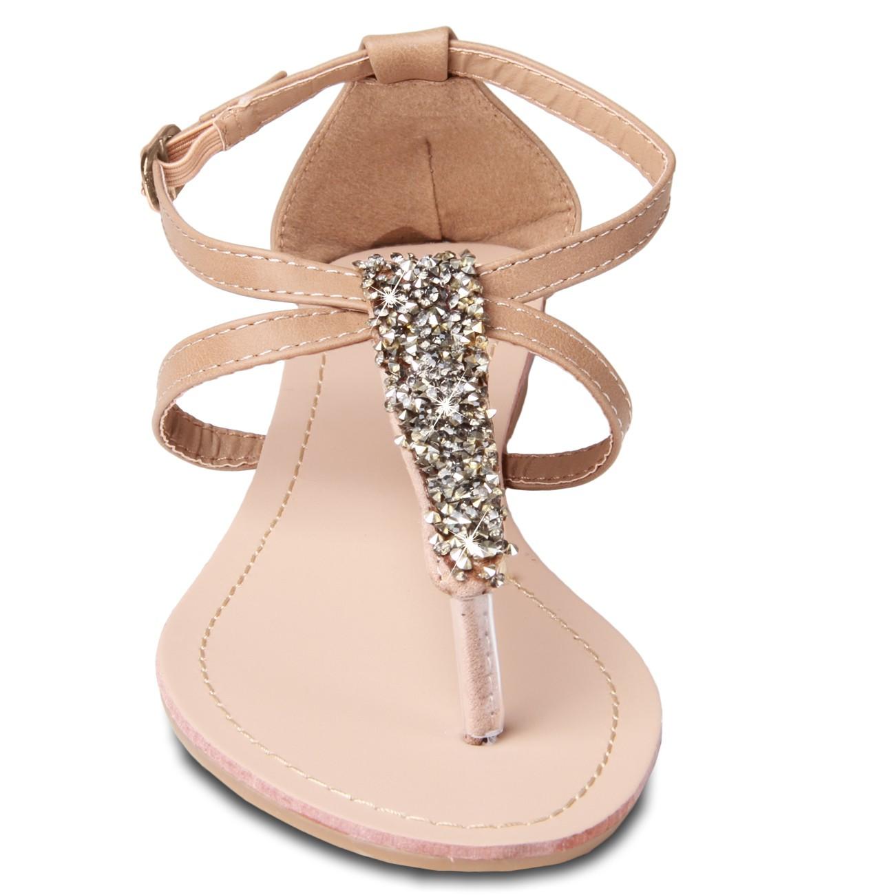 caspar damen sandaletten sandalen zehentrenner mit edlem strass und riemchen viele farben. Black Bedroom Furniture Sets. Home Design Ideas