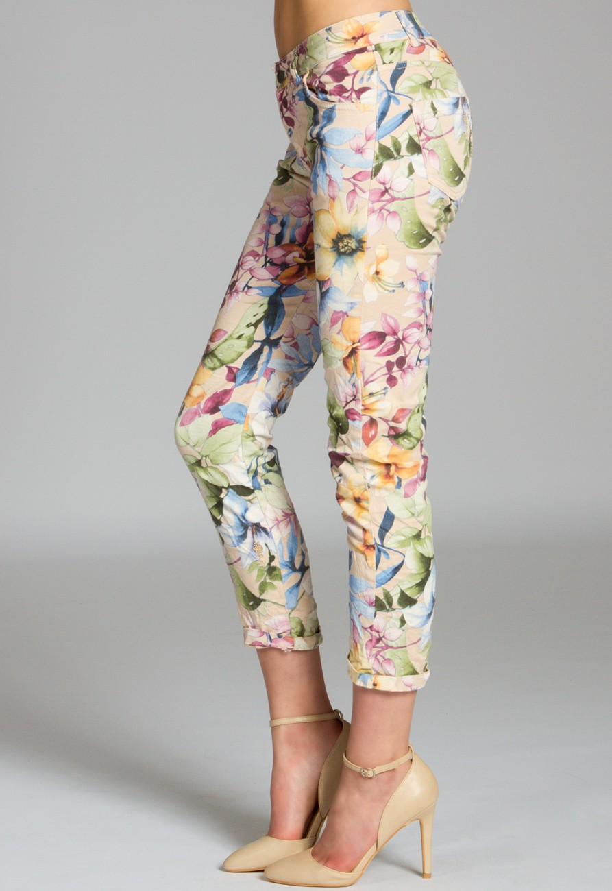 caspar damen 7 8 sommer hose mit blumen muster lilien flower print khs021 bekleidung hosen. Black Bedroom Furniture Sets. Home Design Ideas