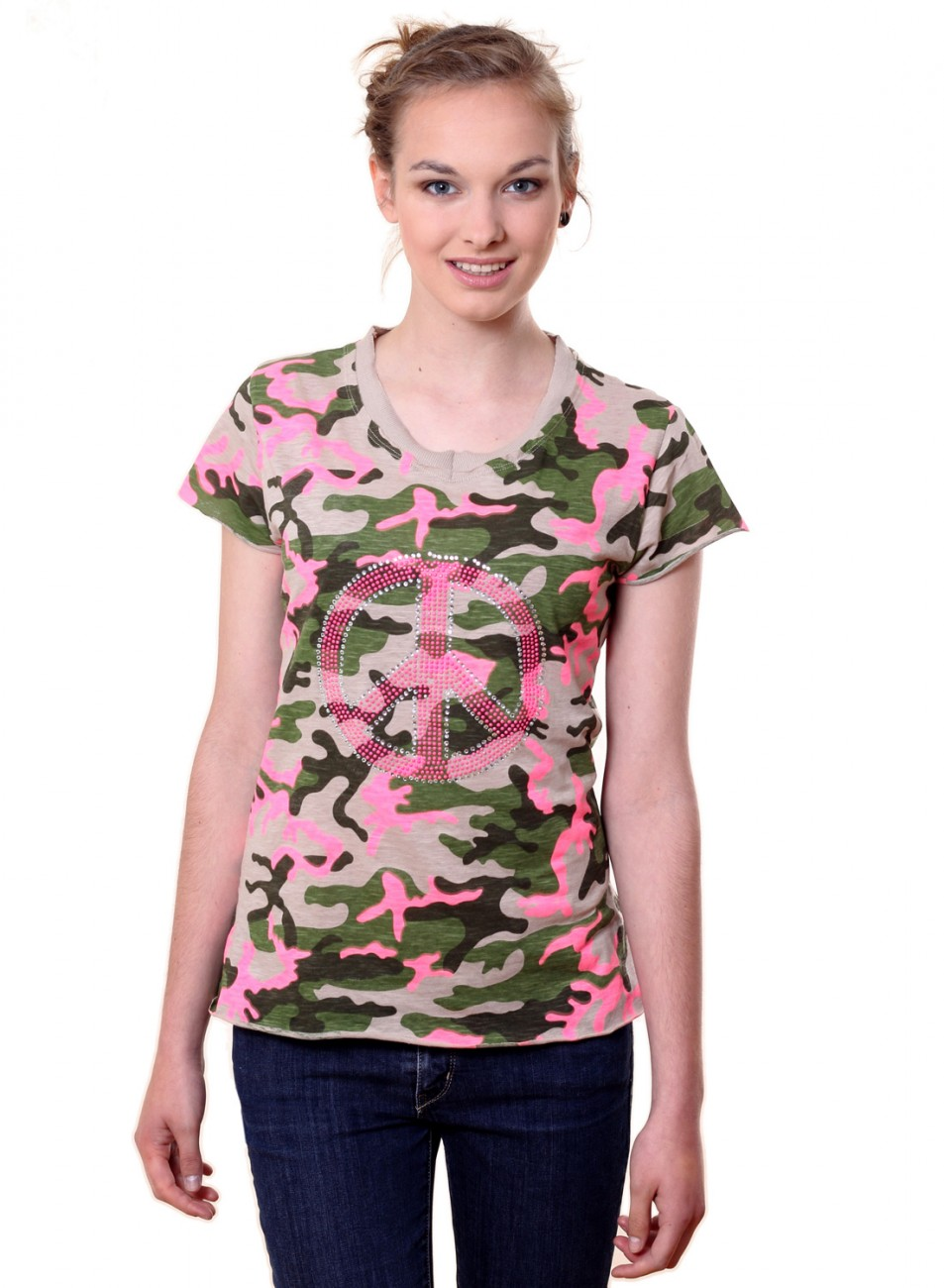 caspar damen shirt camouflage peace neon strass. Black Bedroom Furniture Sets. Home Design Ideas