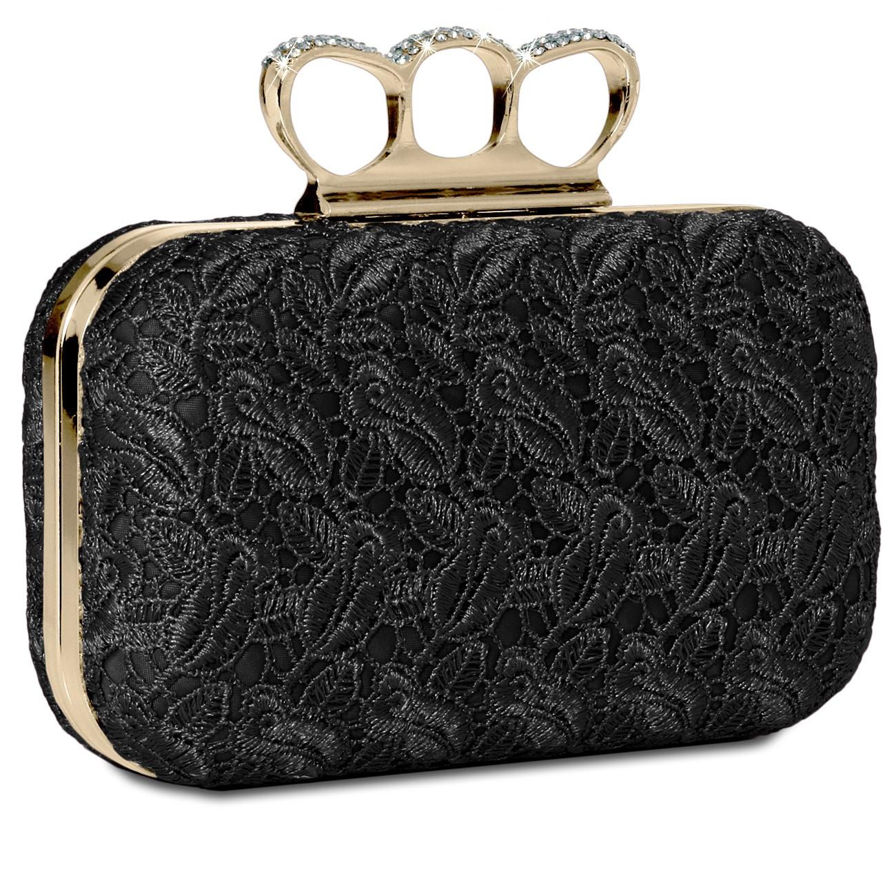 caspar damen schlagring box clutch abendtasche mit stoff. Black Bedroom Furniture Sets. Home Design Ideas