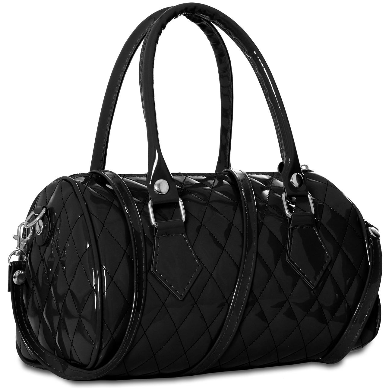caspar kleine damen lack tasche handtasche henkeltasche bowlingtasche viele farben. Black Bedroom Furniture Sets. Home Design Ideas