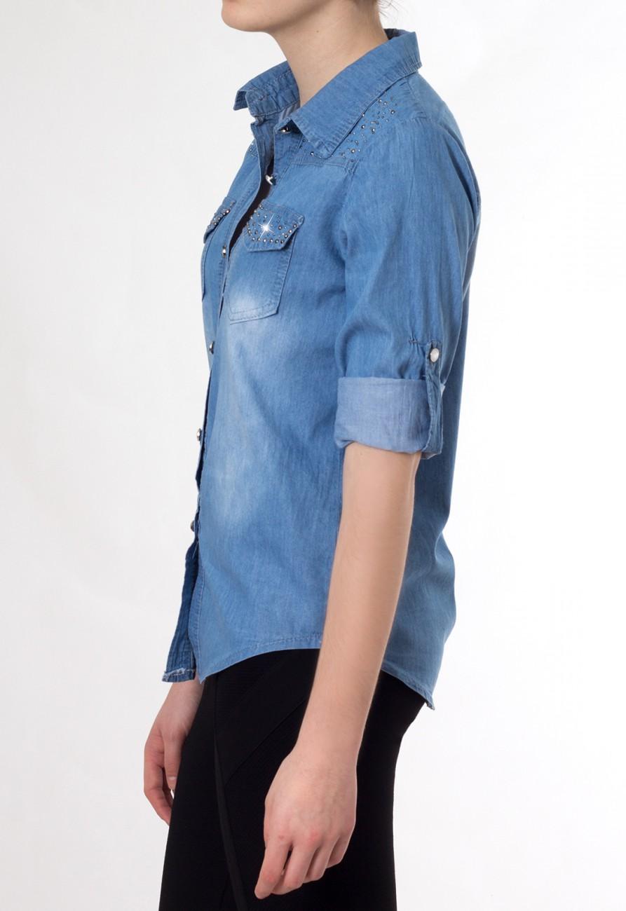 caspar damen langarm jeanshemd jeansbluse mit strass applikation dunkelblau hellblau. Black Bedroom Furniture Sets. Home Design Ideas