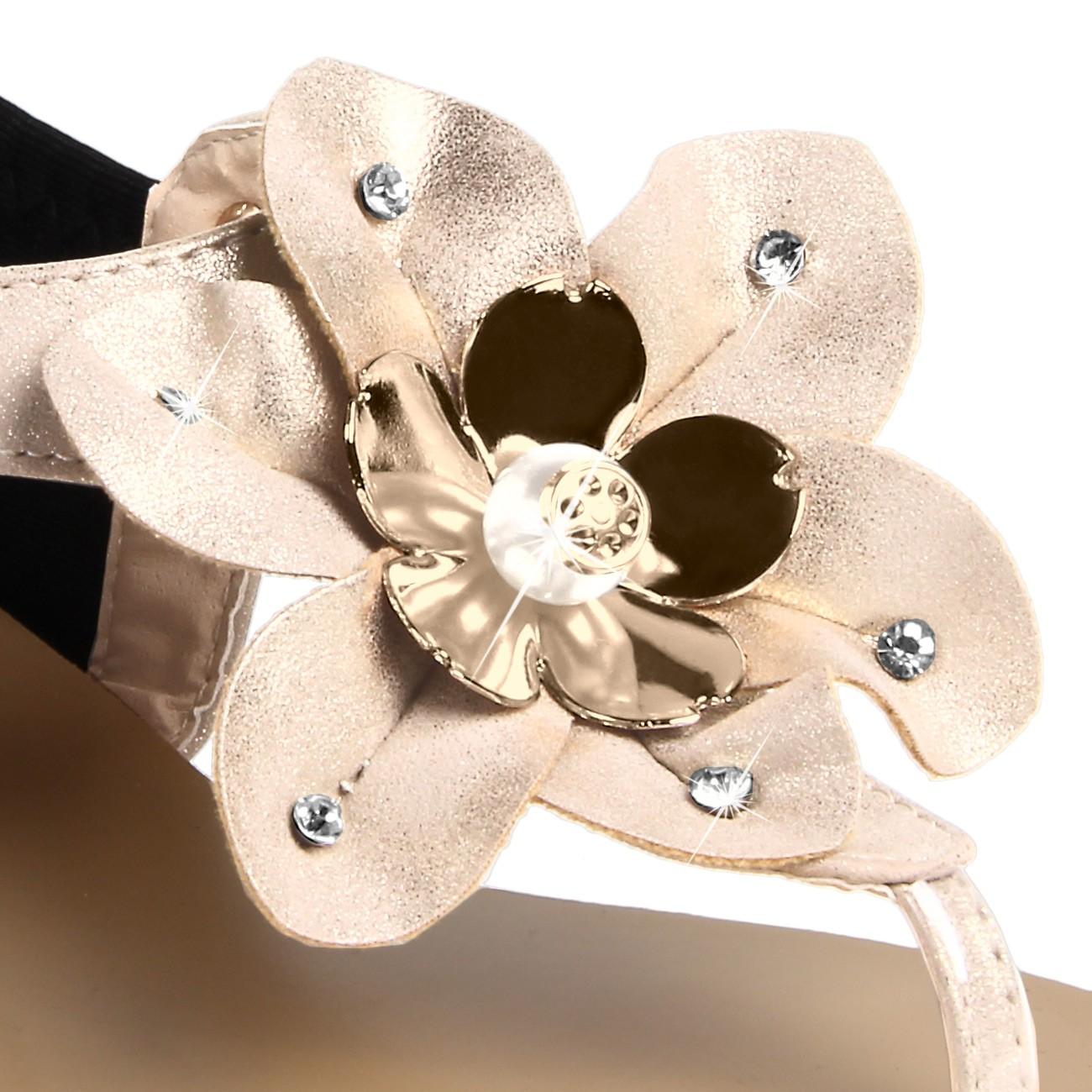 caspar damen sandalen sandaletten zehentrenner mit funkelnder blume und strass steinen viele. Black Bedroom Furniture Sets. Home Design Ideas