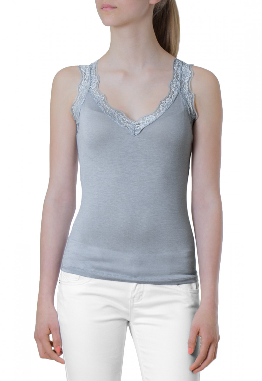 caspar damen shirt tank top tr ger top mit spitze. Black Bedroom Furniture Sets. Home Design Ideas