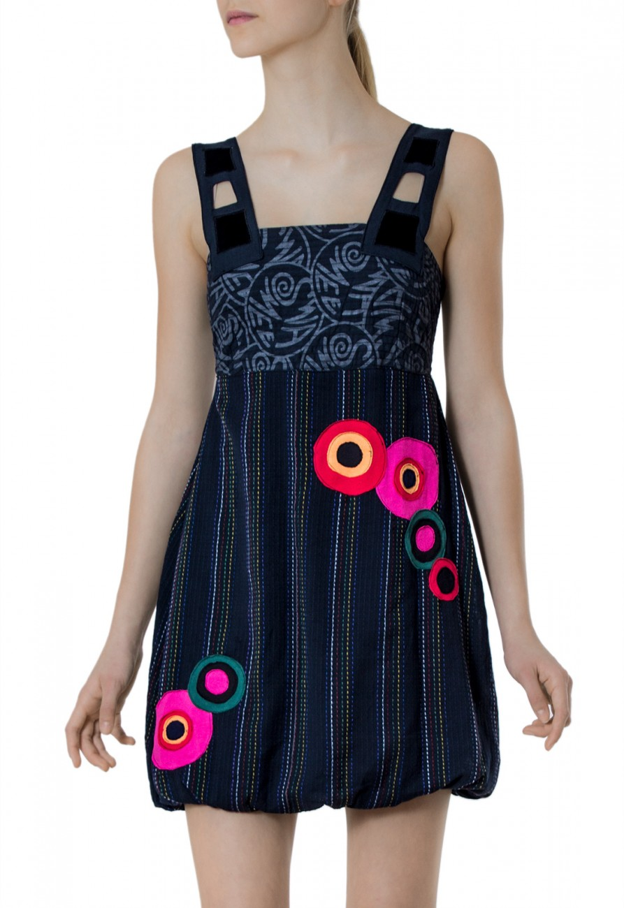 caspar damen leichtes tr ger kleid sommerkleid strandkleid mit bunten kreisen und ziern hten. Black Bedroom Furniture Sets. Home Design Ideas