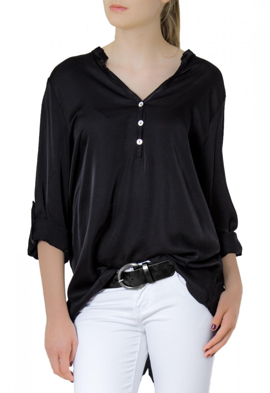caspar damen kurzarm langarm satin bluse hemdbluse mit seidenglanz. Black Bedroom Furniture Sets. Home Design Ideas