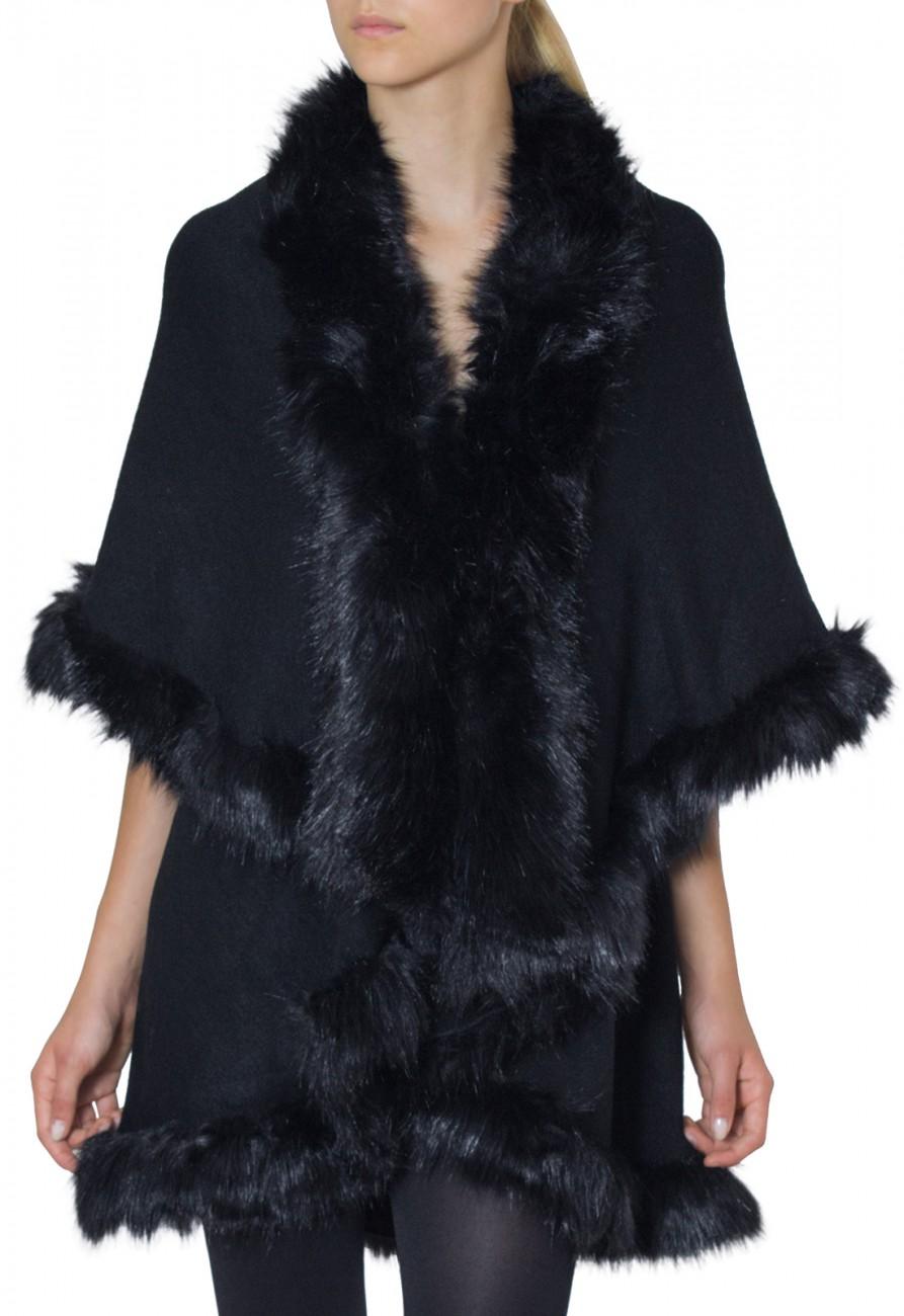 caspar damen ausgefallener poncho jacke umhang mit hochwertigem kunstfell kragen viele. Black Bedroom Furniture Sets. Home Design Ideas