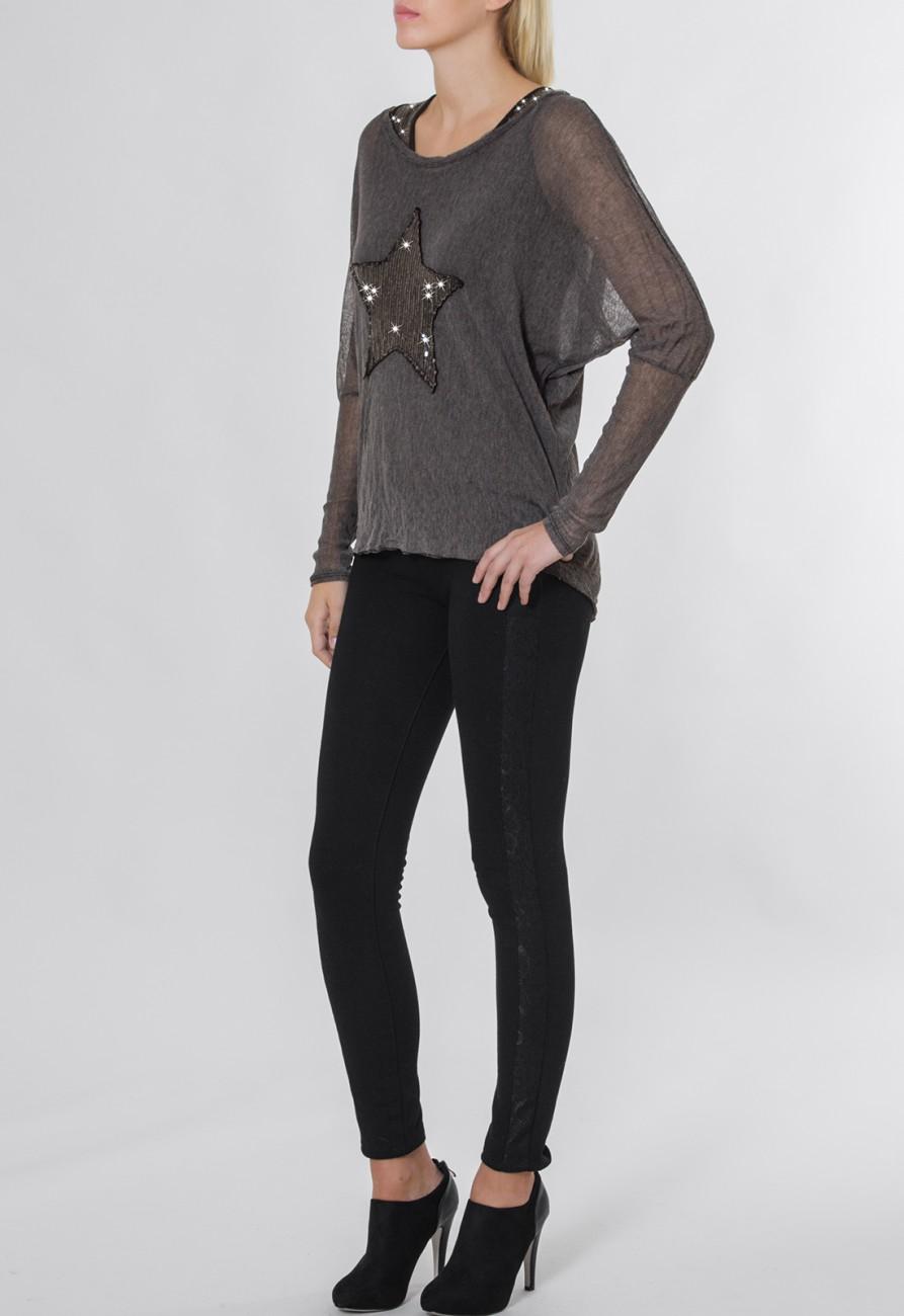 caspar damen langarm pailletten shirt mit stern motiv twin. Black Bedroom Furniture Sets. Home Design Ideas