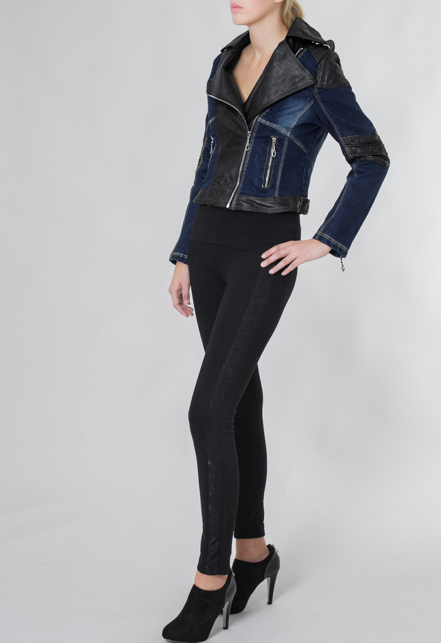 caspar damen kurze jeansjacke bikerjacke mit. Black Bedroom Furniture Sets. Home Design Ideas